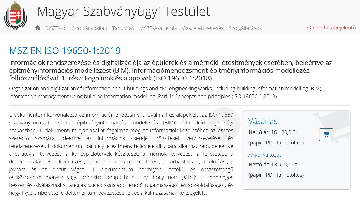 Megjelentek az első magyar nyelvű BIM szabványok