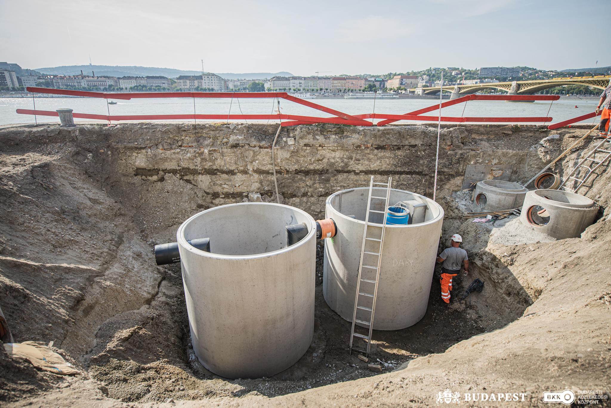Csapadékvízszűrő-rendszert építenek ki a Margit híd és a Parlament között